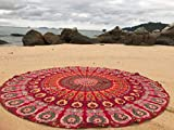 Raajsee Mandala Round Beach Tapestry Hippie Mandala/Boho Decor Beach Blanket/Indian Cotton Throw Bohemian Round Table Cloth Mandala/Yoga Mat Meditation Picnic Rugs (RED)