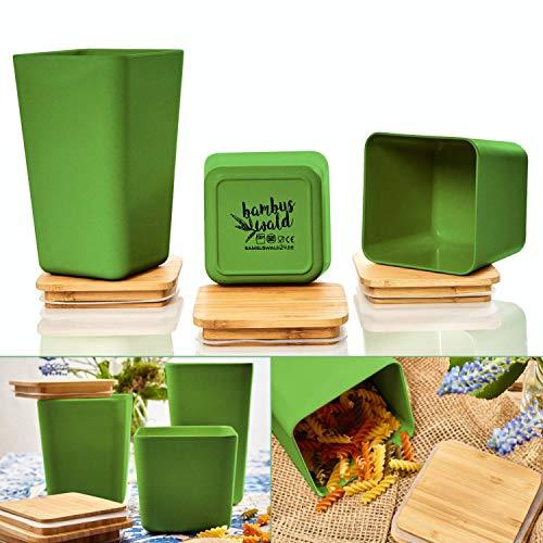 bambuswald© 3 Stück : ökologische Vorratsbehälter mit luftdichten Deckel   Aufbewahrungsbox in 3x Größen in einem Set (1,4L   1,1L   0,9L) - Küchendosen Aufbewahrungsdose Vorratsgläser Vorratsdosen