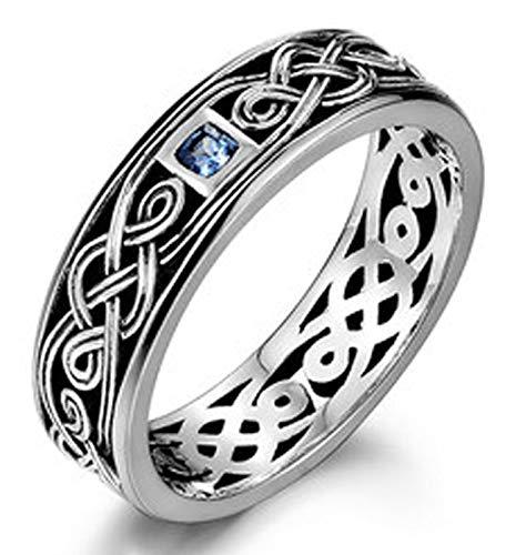 RXSHOUSH Anillo de plata S925 para hombre, anillo de compromiso, regalo de la suerte para hijo o novio tamaño 21 #