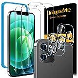 [3 pièces] UniqueMe Verre Trempé et [2 pièces] Caméra Arrière Protecteur Compatible avec iPhone 12 Pro Max (6,7 pouces), [Couverture maximale][sans Bulles] 9H Résistant Film Protection écran