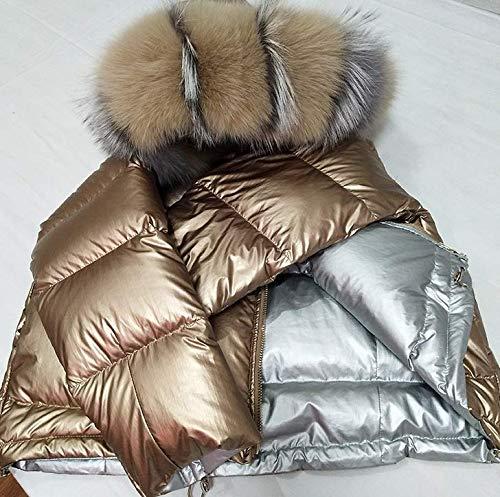WJJ Kleine Kurze Bluse, Sportjacke, wasserdichte Damen Daunenjacke/Das Lackleder ist glänzend und kann beidseitig getragen Werden,Gold,M