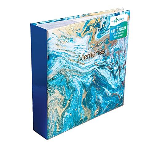 Photo Album Memo Slip in Holds 200 Photos 6 x 4 (Blue Marble) Rose Gold...