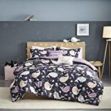 Urban Habitat Kids Magical Narwhals Reversible 100% Cotton Comforter, Novel Animal Print Modern All Season Down Alternative Bed Set for Kids, Decorative Pillow, Full/Queen(88'x88'), Purple 5 Piece