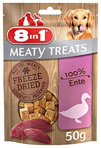 8in1 Meaty Treats, gefriergetrocknete Hunde Leckerlis aus Ente, 100% Fleisch, getreidefrei und ohne Zucker (1 Beutel, 50 g)