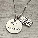Personalized Engraved Basketball Necklace, Girls Basketball Pendant Jewelry, Perfect Gift for Basketball Players