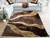 Gold Man Spotlight Area Rug Carpet Rug Stylish Online Shaggy Shag Collection Soft 3D Plush Color Indoor Bedroom Living Room Brown Beige Colors 8'x10' Feet Hand Woven Decorative Designer Cozy