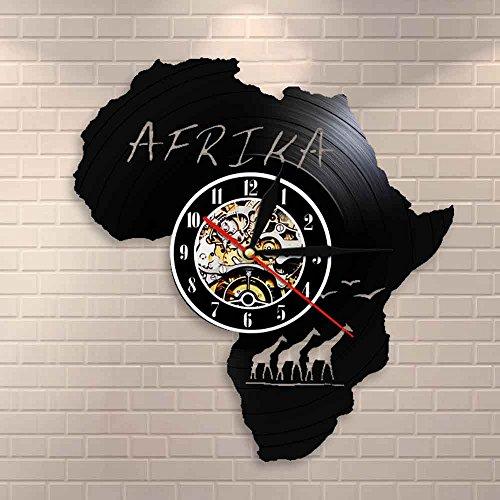 Giraffe Vinyl Wanddekoration afrikanische Tiere Natur Uhrenkunst Kinderzimmer Wanddekoration hängende Vinyluhr einzigartiges Geschenk