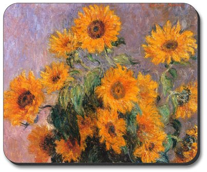 Monet Sunflowers - Art Plates Brand Mouse Pad