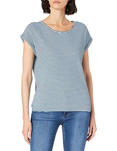 TOM TAILOR Damen 1024037 Striped T-Shirt, 26043-Blue Navy Popcorn Structure, L