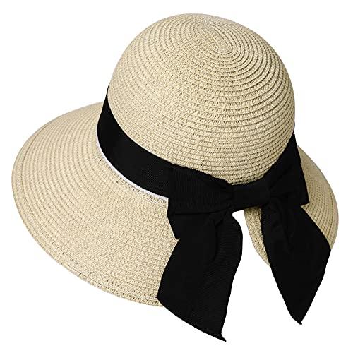 Comhats Sombrero de paja para mujer, plegable, UPF 50 + con sombra...