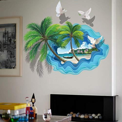 UYEDSR Wandsticker Coconut Palm Tree Wandaufkleber für Badezimmer Schlafzimmer 3D View Home Decor Fashion Beach Scenery Art Wallpapers
