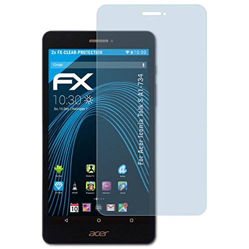 atFolix Schutzfolie kompatibel mit Acer Iconia Talk S A1-734 Folie, ultraklare FX Bildschirmschutzfolie (2X)