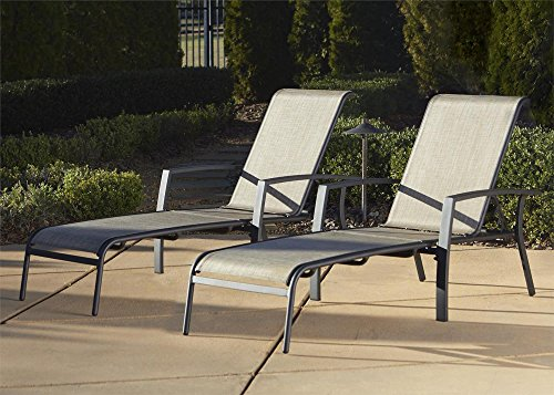 Cosco Outdoor Adjustable Aluminum Chaise Lounge Chair Serene Ridge Patio Furniture Set, 2 PK, Dark Brown