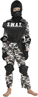 SWAT Costume Military Uniform Kids Police Set Child Special Soldier Cosplay Camouflage Army Gift Halloween Fancy Costume
