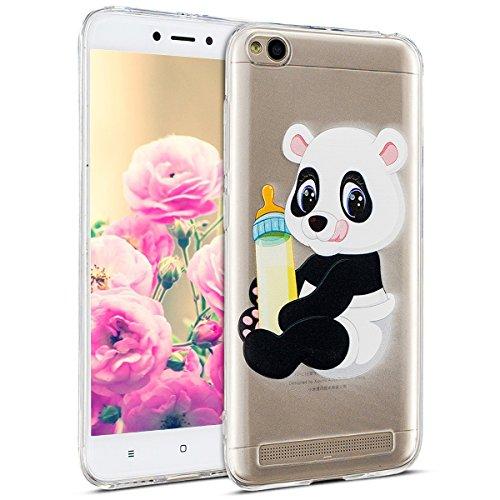 Uposao Kompatibel mit Hülle Xiaomi Redmi 5A Silikon Handyhüllen Bunt Muster Transparent TPU Silikon Handyhülle Durchsichtige Schutzhülle TPU Weich Tasche,Panda