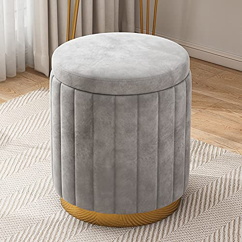 Storage Ottoman Round Velvet Tufted Footrest Stool with Lid, Vanity Stool Shoe Bench Coffee Side Table with Glod Meatal Base and Soft Cushion