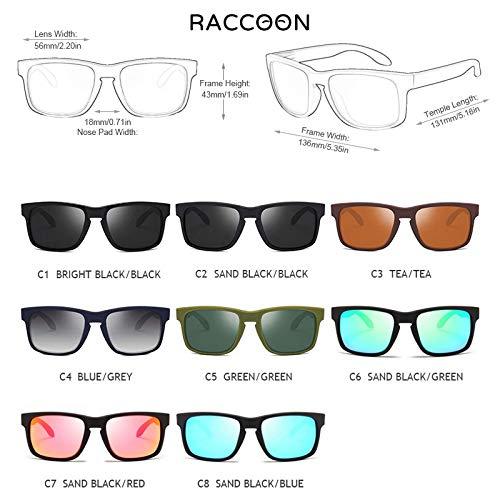 TEYUN 2021 Moda Cuadrada Gafas de Sol polarizadas Hombres Vintage Plastic Masculino Gafas de Sol con Estilo Negro Sport Shades UV400 (Color : Note Color)