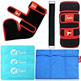 Toughito 3in1 Complete Foot Care Bundle - Ankle Ice Pack + Knee Ice Pack + Ice Pack Set of 3 - Foot Pains, Sprains & Swelling, ACL, Arthritis, Injury Recovery - Ankle Brace + Knee Brace + 9 Ice Packs