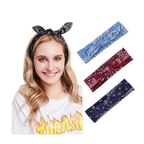 Yean Boho-Stirnbänder, breit, kreuzförmig, mit Blumendruck, modisch, gedrehtes Haarband für Frauen und Mädchen (3 Stück)