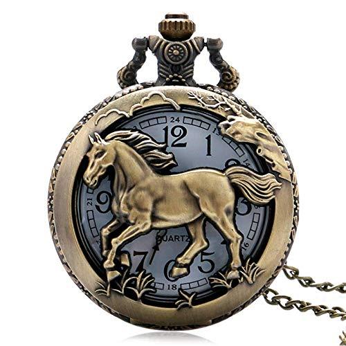 LYMUP Reloj de bolsillo, collar de cuarzo hueco de caballo de bronce para mujer y hombre, wathes regalos, vapor (color bronce)