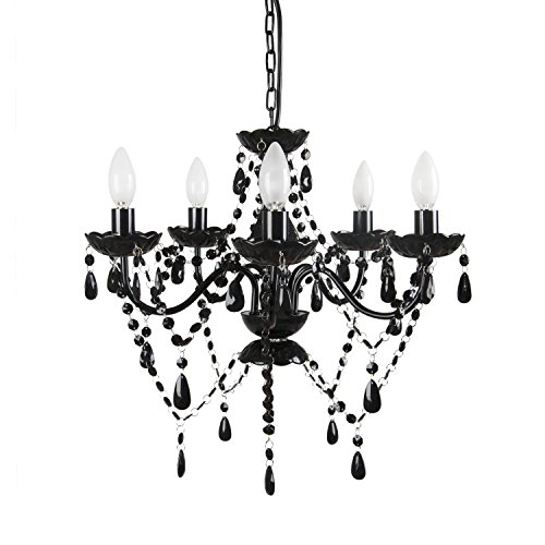 Tadpoles Vintage-Style Chandelier, Crystal Chandelier Lighting, 5-Bulb,Black Onyx