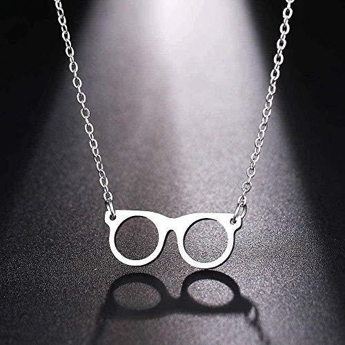 zxcdsaqwe Co.,ltd Collar Mujer s Hombre Moderno Exquisito Estilo Gafas Color Oro y Plata Colgante Collar Joyería de Compromiso Collar de Acero Inoxidable