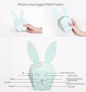 Despertador electrónico creativo de la música del conejo de Mimi/luz de la noche/sitio de los niños/regalo de cumpleaños de los niños/USBCharge