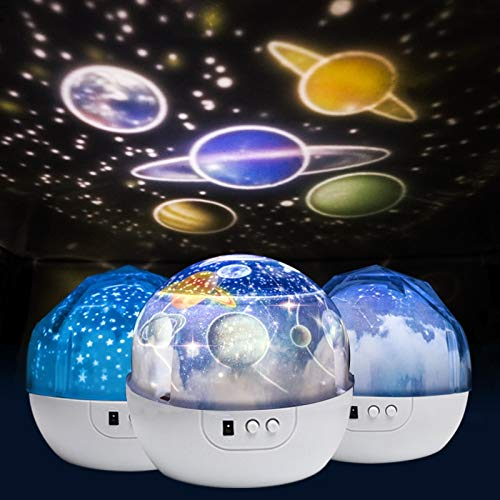 Starry Night Light Planet Magic Projector Earth Universe LED Lights Colorful Spinning Flashing Stars Toys Kids Baby Christmas Gift A