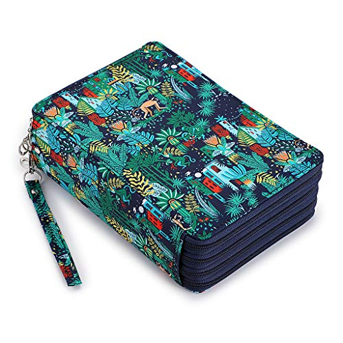BTSKY Colored Pencil Case- 200 Slots Pencil Holder Pen Bag Large Capacity Pencil Organizer with Handle Strap Handy Colored Pencil Box with Printing Pattern Jungle