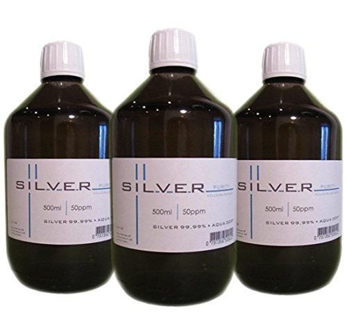 Preisvergleich Produktbild Kolloidales Silber 3x 500ml / 50ppm in Braunglasflasche mit Originalitätsverschluss pure / SET