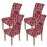 Smiry - Set di 4 fodere per sedie da pranzo stampate, in elastam, rimovibili e lavabili, per casa, cucina, feste, ristoranti (rosso vino)