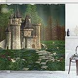 ABAKUHAUS Märchen Duschvorhang, Feenhaftes Schloss Design, mit 12 Ringe Set Wasserdicht Stielvoll Modern Farbfest & Schimmel Resistent, 175x220 cm, Mehrfarbig
