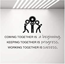 Wall Decal Stickers success Gears Wall Decal Teamwork Business Success Work Inspiration Quote Vinyl Stickers Wallpaper Office Room Decor Mural 71X42Cm