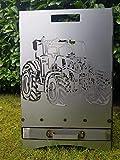 Feuerkorb Feuerstelle Grill Maße 40x40x60 cm Motiv' Trecker 4 und Ähre' inkl. Ascheschublade und Zwischenboden sehr stabil GARTENDEKO FOCKBEK