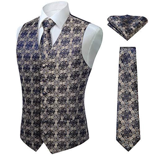 Hisdern Manner Paisley Floral Jacquard Weste & Krawatte und Einstecktuch Weste Anzug Set, Gold- und Marineblau, Gr.-5XL (Brust 60 Zoll)