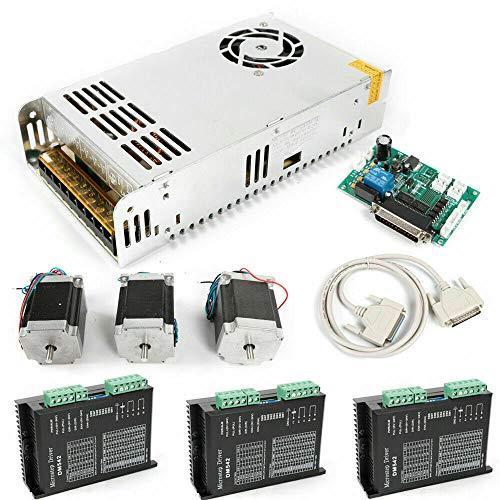 Aohuada 3 ejes Nema 23 Motor paso a paso 270 oz en 3A+DM542A 4.2A controlador + fuente de alimentación Kit eje Driver Driver Controlador Router fuente de alimentación