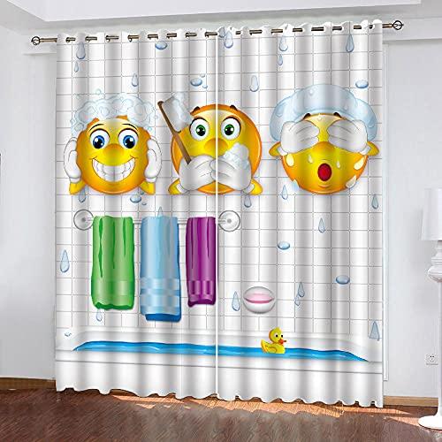 Cortina Baño Emoji 150 x 166 cm Cortinas Dormitorio de Diseño Moderna Térmica Aislante Frío y Calor con Ojales para Habitación Decorativa con Motivos Elegantes y Coloridas