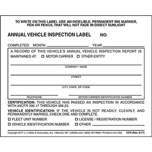 20 Annual Vehicle Inspection Label - Vinyl w/Mylar Laminate