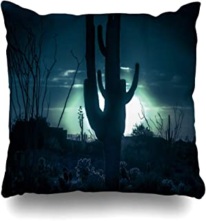 Qrriy Throw Pillow Covers Cactus Blue Desert Moonlight Saguaro Tree Nature Scary Western Arizona Black Cacti Design Shadow Home Decor Zippered Pillowcase Square Size 20 X 20 Inches Cushion Case 枕,抱き枕カバー,枕カバ,実用的である