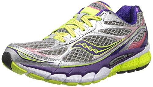 Saucony Women's Ride 7 Running Shoe,Silver/Purple/Citron,6 W US