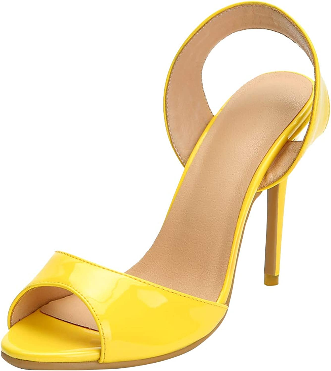 CASSOCK Women's Stiletto Sandals D'Orsay Style Slingback Sexy Office Party Club Fashion shoes Yellow