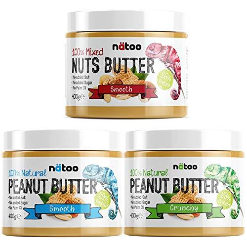 NATOO PEANUT BUTTER + NUTS PACK - Burro darachidi + burro di noci miste (arachidi, anacardi e madorle) 100% Naturale - Vegan