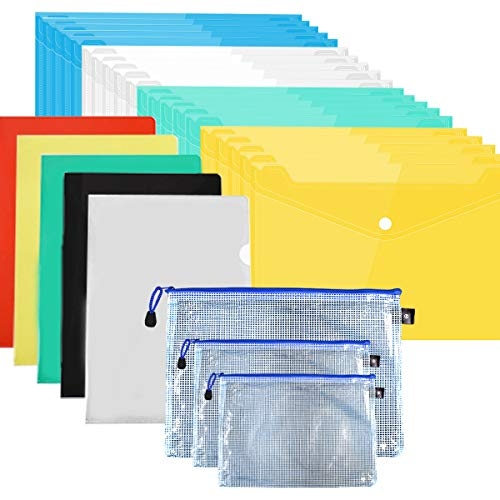 Colore A5 Cartelle Plastica, Plastica Portadocumenti Trasparente Impermeabile, Buste Portadocumentier, Buste chiare, Cartelline Portadocumenti, Organizer Cartellette con Bottone per Documento Storage