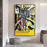 """キャンバスプリント抽象的なカラフルな落書き絵画絵壁アート不織布ポスターリビングルーム寝室家の装飾19.6""""x27.5""""(50x70cm)フレームレス"""