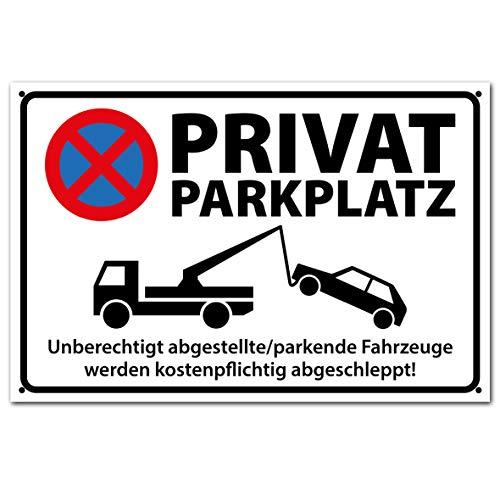 PICO signs Hochwertiges Schild aus Alu PRIVATPARKPLATZ - PARKEN VERBOTEN 300 x 200 mm rechteckig | Parkverbot | Parken Verboten |