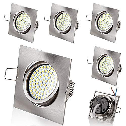 6 x stück sweet led® Flaches Design LED Einbaustrahler Flach | 350 Lumen | 3.5W | 230V | Edelstahl Optik | Rund - Eckig | Schwenkbar Einbauspots Einbauleuchten Einbau led (Eckig-Warmweiß)