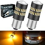 NATGIC 1156 BA15S 7506 1095 1141 LED Bulbs 2400LM 48-SMD 4014 LED Chipsets with Lens Projector for Turn Signal Lights, Side Marker Lights, Turn Blinker Lights, Amber (Pack of 2)