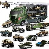 26 in 1 Camion E Soldatini Giocattoli Militari Kit, Mini Auto da Battaglia Pressofusa in C...