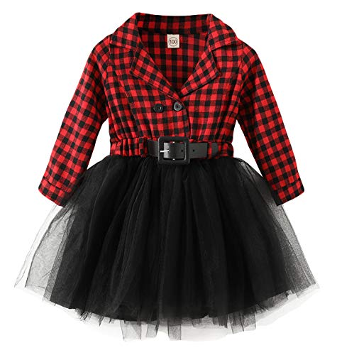 Little Baby Girl Christmas Dress Buffalo Plaid Tutu Skirt Party Princess Formal Outfit Clothes Red
