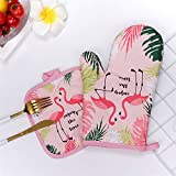 The Purple Tree 1 Pair Cotton Flamingo Kitchen Pad Cooking Microwave Baking BBQ Oven potholders Oven Mitts Kitchen Gloves, Oven mitt with Pot Holder Set, Oven Mitten, Oven Glove, Microwave Gloves